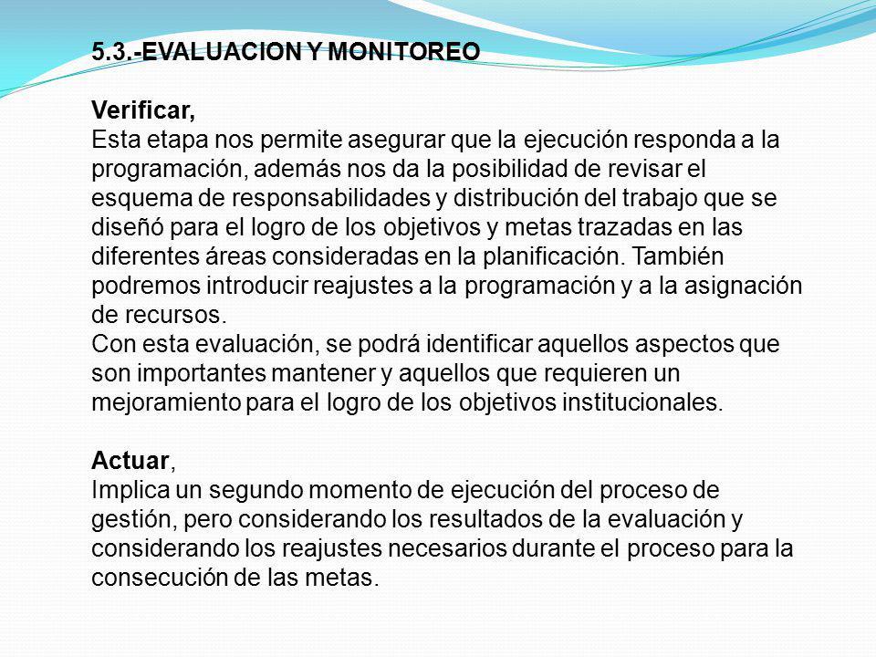 5.3.-EVALUACION Y MONITOREO Verificar, Esta etapa nos permite asegurar que la ejecución responda a la programación, además nos da la posibilidad de re