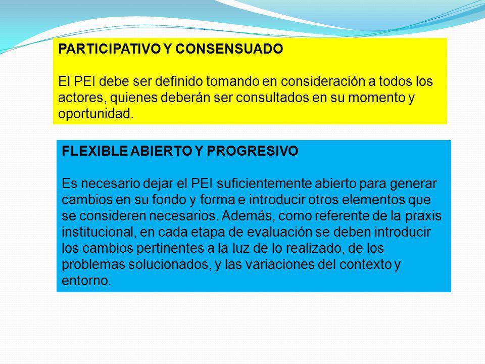 PARTICIPATIVO Y CONSENSUADO El PEI debe ser definido tomando en consideración a todos los actores, quienes deberán ser consultados en su momento y opo