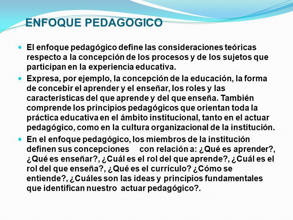 ENFOQUE PEDAGOGICO El enfoque pedagógico define las consideraciones teóricas respecto a la concepción de los procesos y de los sujetos que participan