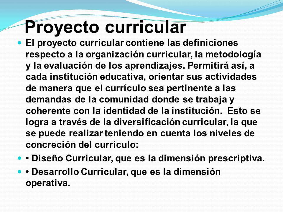 Proyecto curricular El proyecto curricular contiene las definiciones respecto a la organización curricular, la metodología y la evaluación de los apre