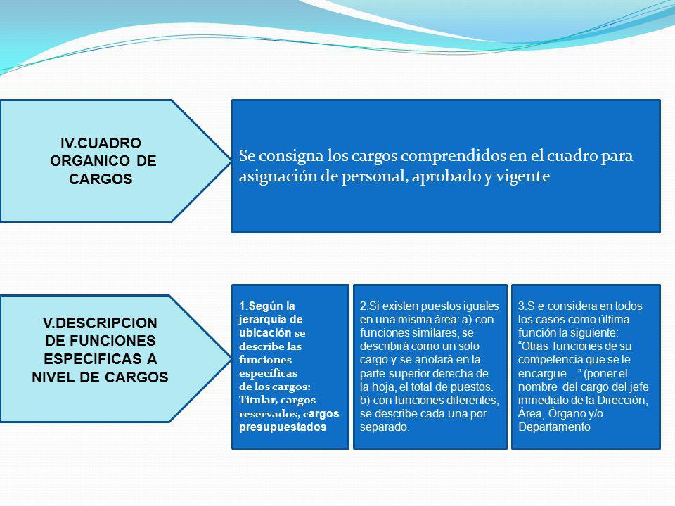 IV.CUADRO ORGANICO DE CARGOS V.DESCRIPCION DE FUNCIONES ESPECIFICAS A NIVEL DE CARGOS Se consigna los cargos comprendidos en el cuadro para asignación