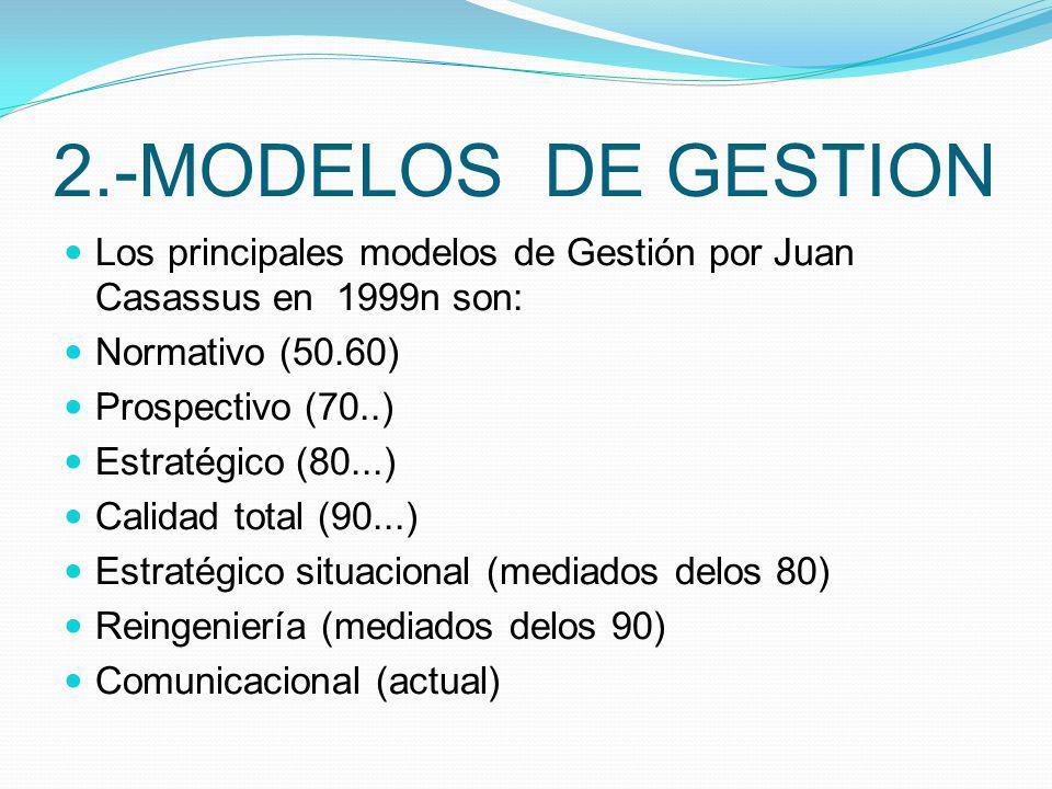 2.-MODELOS DE GESTION Los principales modelos de Gestión por Juan Casassus en 1999n son: Normativo (50.60) Prospectivo (70..) Estratégico (80...) Cali
