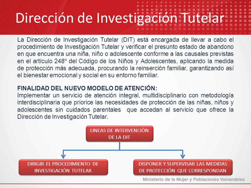 La Dirección de Investigación Tutelar (DIT) está encargada de llevar a cabo el procedimiento de Investigación Tutelar y verificar el presunto estado d