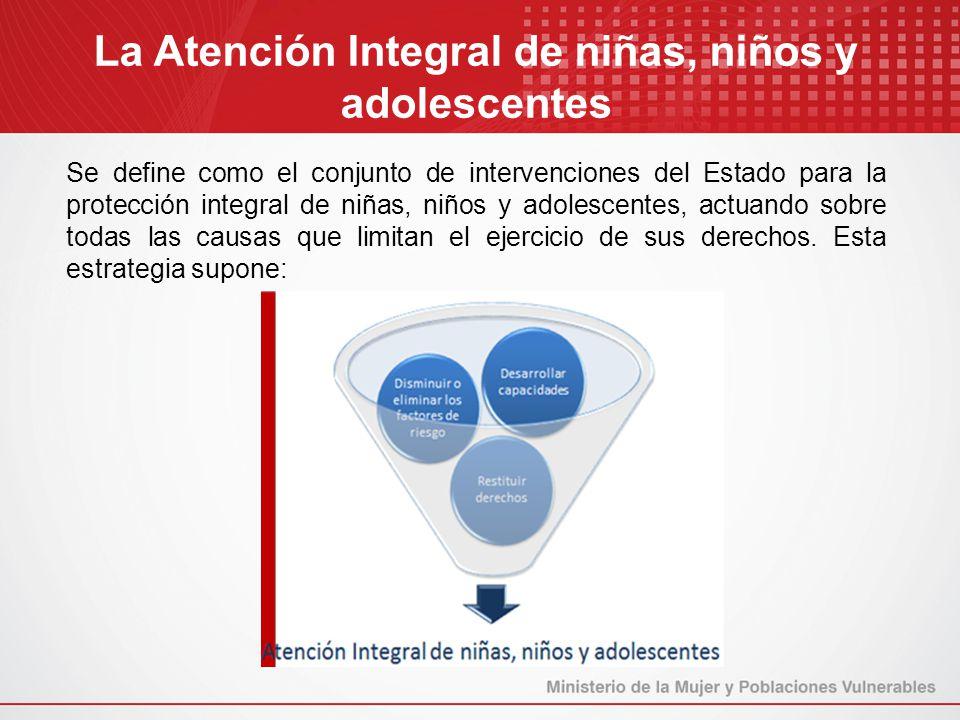 Se define como el conjunto de intervenciones del Estado para la protección integral de niñas, niños y adolescentes, actuando sobre todas las causas qu