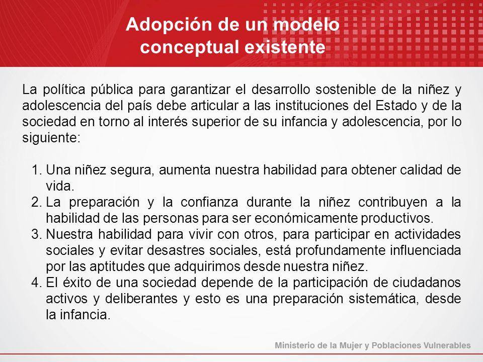 La política pública para garantizar el desarrollo sostenible de la niñez y adolescencia del país debe articular a las instituciones del Estado y de la