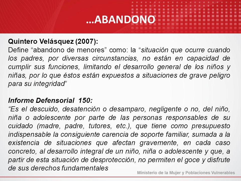 Quintero Velásquez (2007): Define abandono de menores como: la situación que ocurre cuando los padres, por diversas circunstancias, no están en capaci