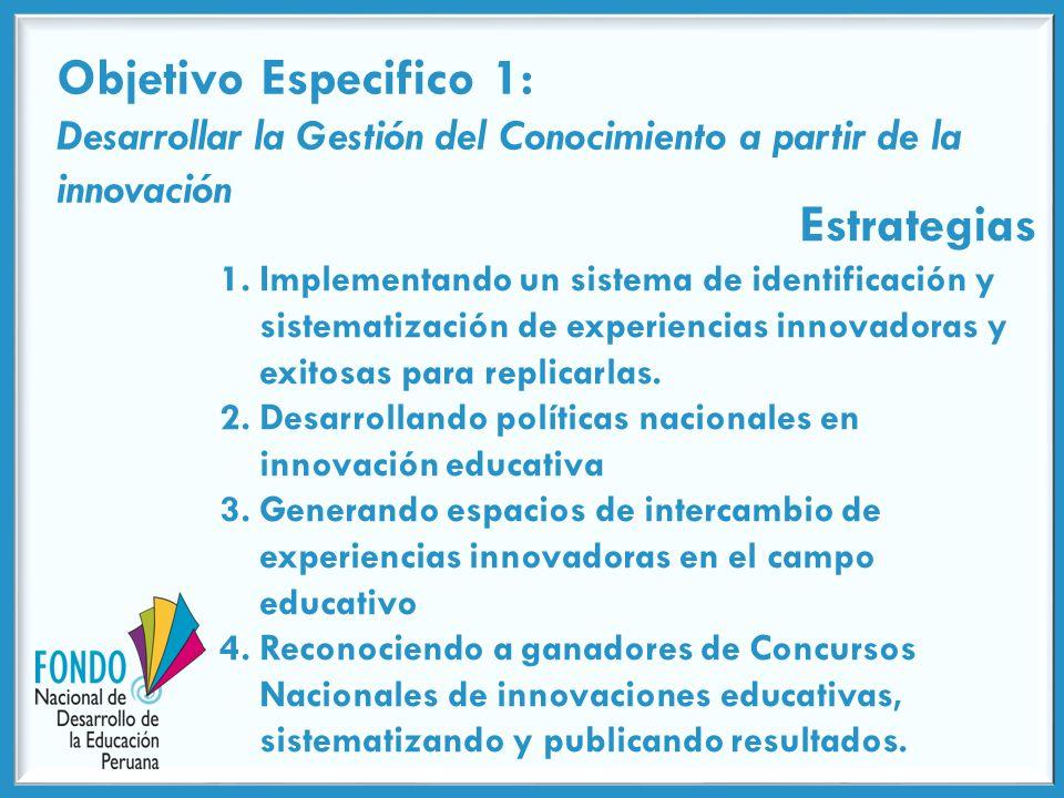 Objetivo Especifico 1: Desarrollar la Gestión del Conocimiento a partir de la innovación Estrategias 1.Implementando un sistema de identificación y sistematización de experiencias innovadoras y exitosas para replicarlas.