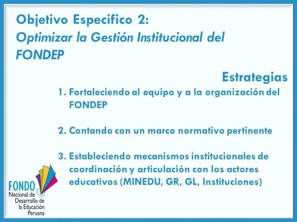 Objetivo Especifico 2: Optimizar la Gestión Institucional del FONDEP Estrategias 1.Fortaleciendo al equipo y a la organización del FONDEP 2.Contando con un marco normativo pertinente 3.Estableciendo mecanismos institucionales de coordinación y articulación con los actores educativos (MINEDU, GR, GL, Instituciones)