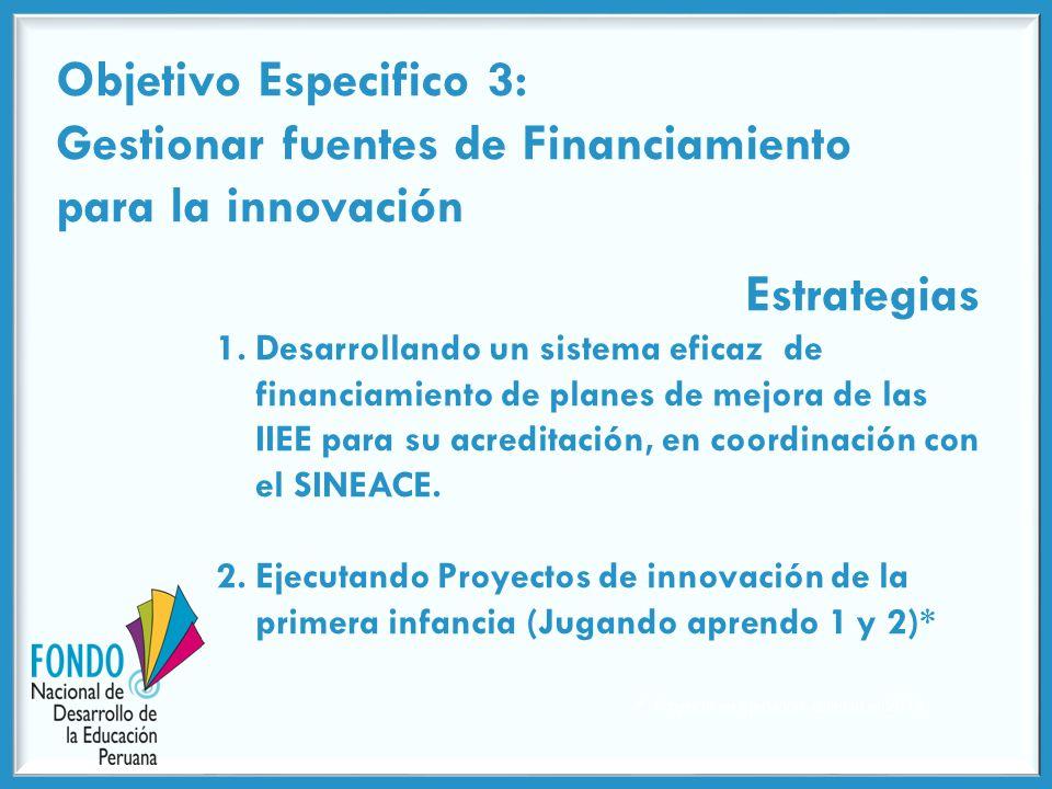 Objetivo Especifico 3: Gestionar fuentes de Financiamiento para la innovación Estrategias 1.Desarrollando un sistema eficaz de financiamiento de planes de mejora de las IIEE para su acreditación, en coordinación con el SINEACE.