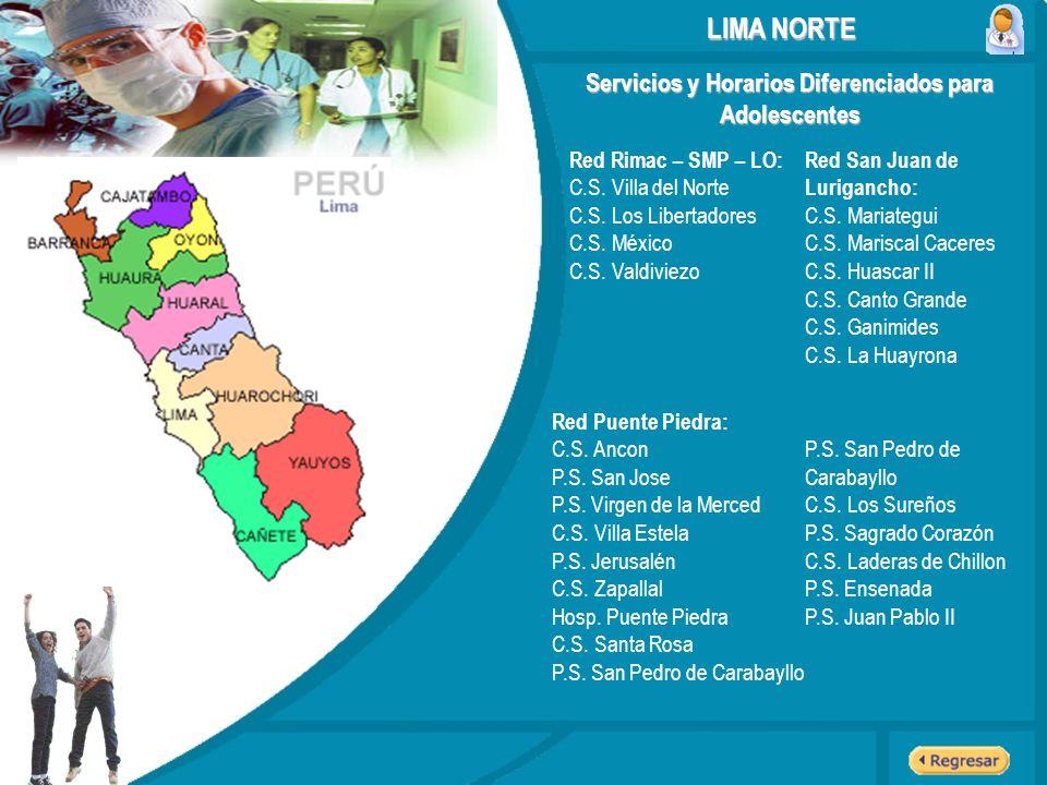 Servicios y Horarios Diferenciados para Adolescentes LIMA NORTE Red Rimac – SMP – LO: C.S. Villa del Norte C.S. Los Libertadores C.S. México C.S. Vald