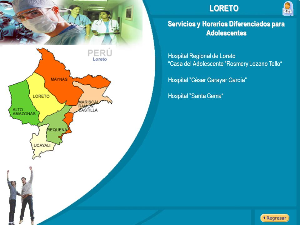 Servicios y Horarios Diferenciados para Adolescentes LORETO Hospital Regional de Loreto Casa del Adolescente
