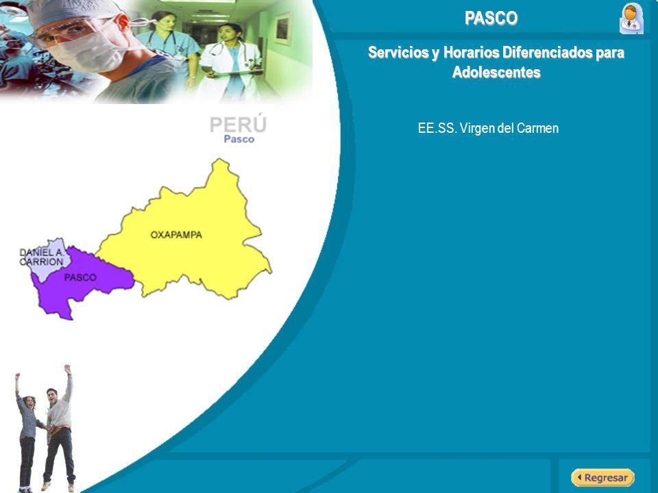Servicios y Horarios Diferenciados para Adolescentes EE.SS. Virgen del Carmen PASCO