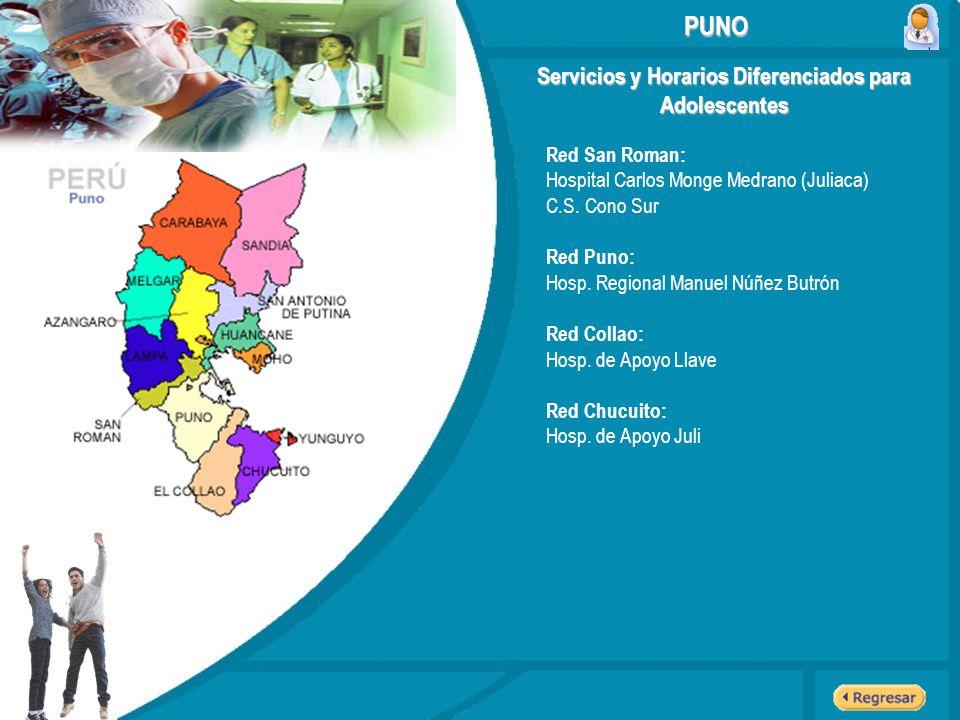 Servicios y Horarios Diferenciados para Adolescentes PUNO Red San Roman: Hospital Carlos Monge Medrano (Juliaca) C.S. Cono Sur Red Puno: Hosp. Regiona