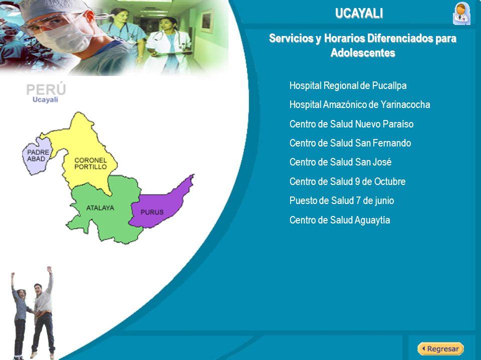 Servicios y Horarios Diferenciados para Adolescentes UCAYALI Hospital Regional de Pucallpa Hospital Amazónico de Yarinacocha Centro de Salud Nuevo Par