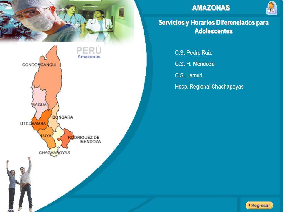 Servicios y Horarios Diferenciados para Adolescentes AMAZONAS C.S. Pedro Ruiz C.S. R. Mendoza C.S. Lamud Hosp. Regional Chachapoyas