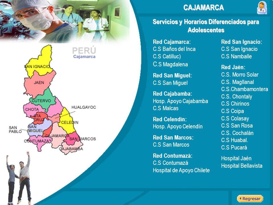 Servicios y Horarios Diferenciados para Adolescentes Red Cajamarca: C.S Baños del Inca C.S Catilluc) C.S Magdalena Red San Miguel: C.S San Miguel Red