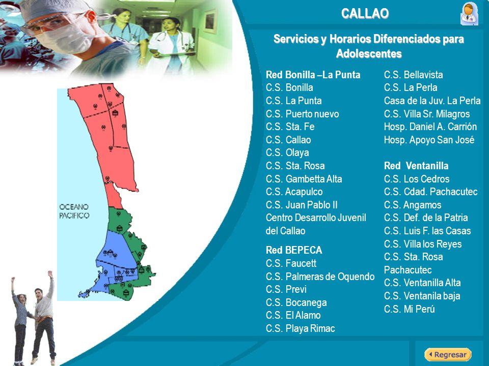 Servicios y Horarios Diferenciados para Adolescentes CALLAO Red Bonilla –La Punta C.S. Bonilla C.S. La Punta C.S. Puerto nuevo C.S. Sta. Fe C.S. Calla