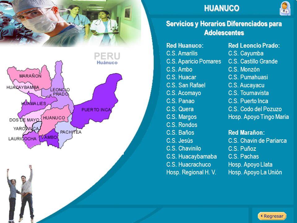 Servicios y Horarios Diferenciados para Adolescentes HUANUCO Red Huanuco: C.S. Amarilis C.S. Aparicio Pomares C.S. Ambo C.S. Huacar C.S. San Rafael C.