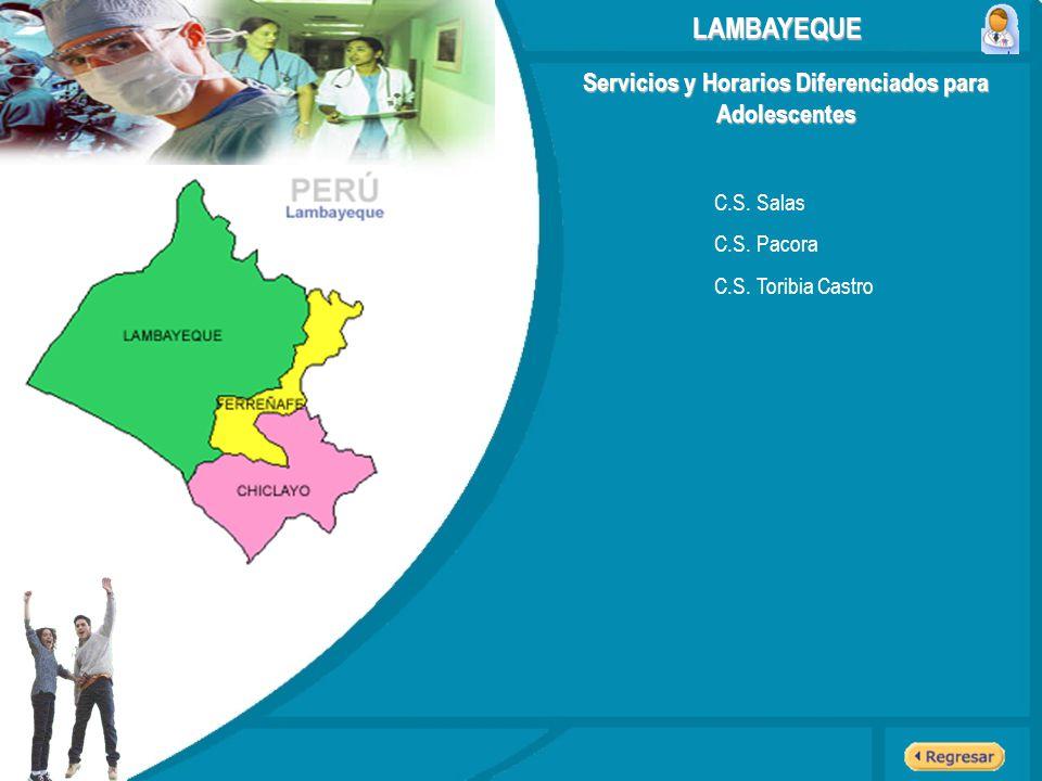 Servicios y Horarios Diferenciados para Adolescentes C.S. Salas C.S. Pacora C.S. Toribia Castro LAMBAYEQUE