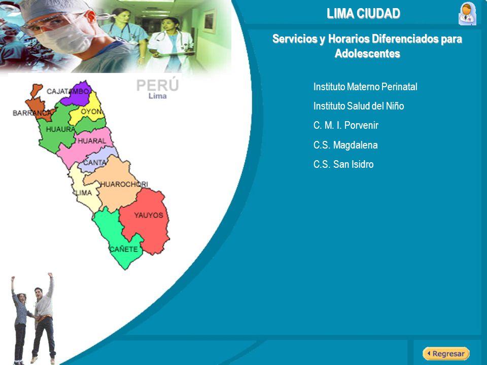Servicios y Horarios Diferenciados para Adolescentes LIMA CIUDAD Instituto Materno Perinatal Instituto Salud del Niño C. M. I. Porvenir C.S. Magdalena