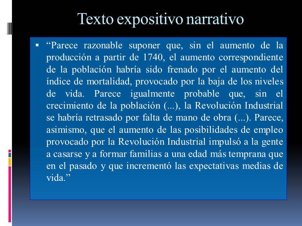 Texto expositivo narrativo Parece razonable suponer que, sin el aumento de la producción a partir de 1740, el aumento correspondiente de la población