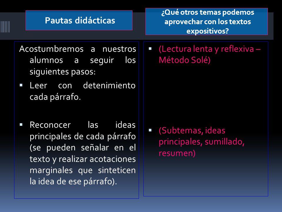 Pautas didácticas ¿Qué otros temas podemos aprovechar con los textos expositivos? Acostumbremos a nuestros alumnos a seguir los siguientes pasos: Leer
