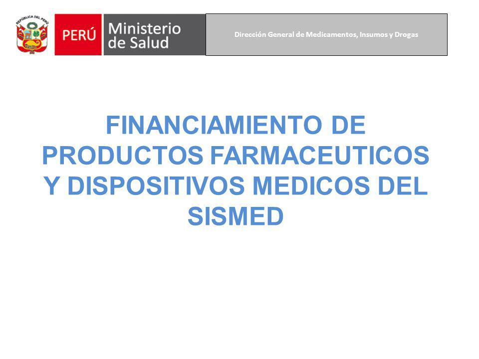 FINANCIAMIENTO DE PRODUCTOS FARMACEUTICOS Y DISPOSITIVOS MEDICOS DEL SISMED Dirección General de Medicamentos, Insumos y Drogas