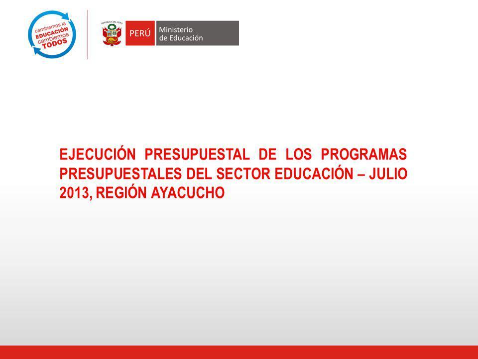 EJECUCIÓN PRESUPUESTAL DE LOS PROGRAMAS PRESUPUESTALES DEL SECTOR EDUCACIÓN – JULIO 2013, REGIÓN AYACUCHO