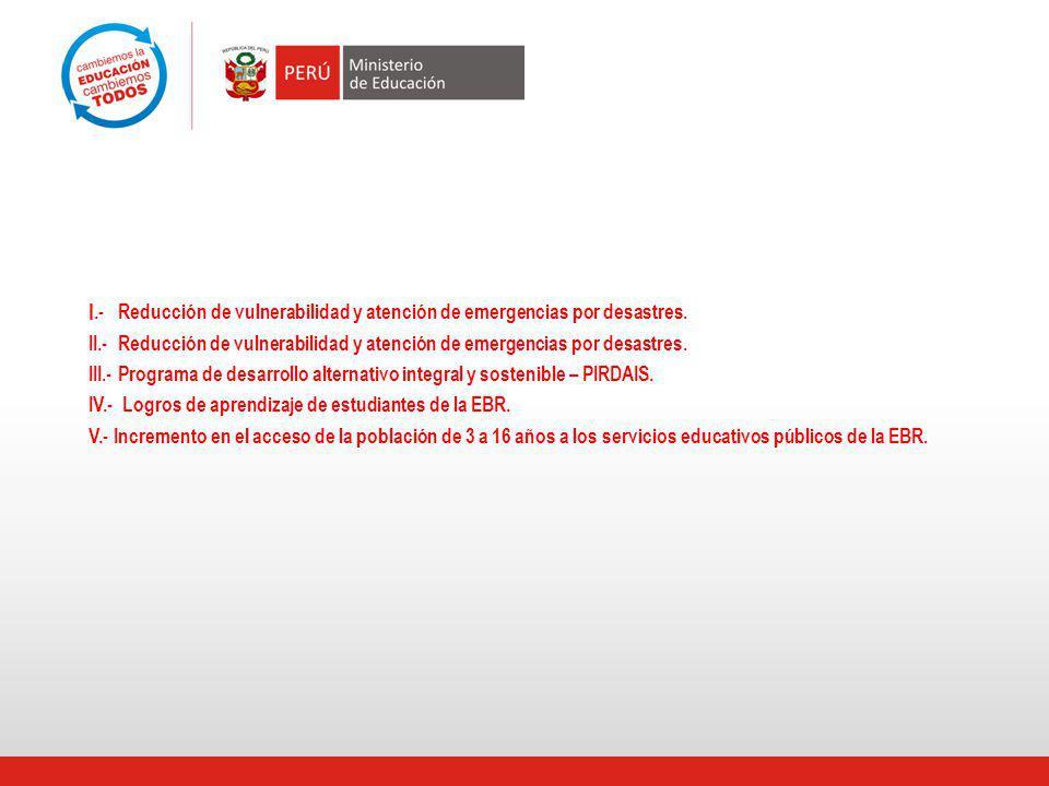 I.- Reducción de vulnerabilidad y atención de emergencias por desastres.