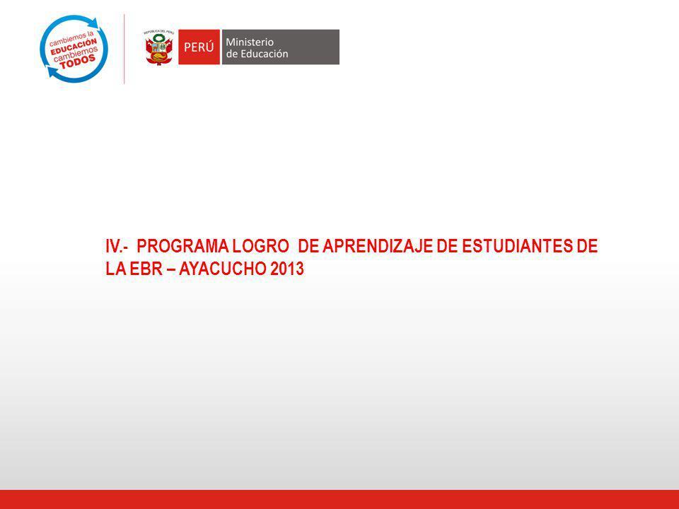 IV.- PROGRAMA LOGRO DE APRENDIZAJE DE ESTUDIANTES DE LA EBR – AYACUCHO 2013
