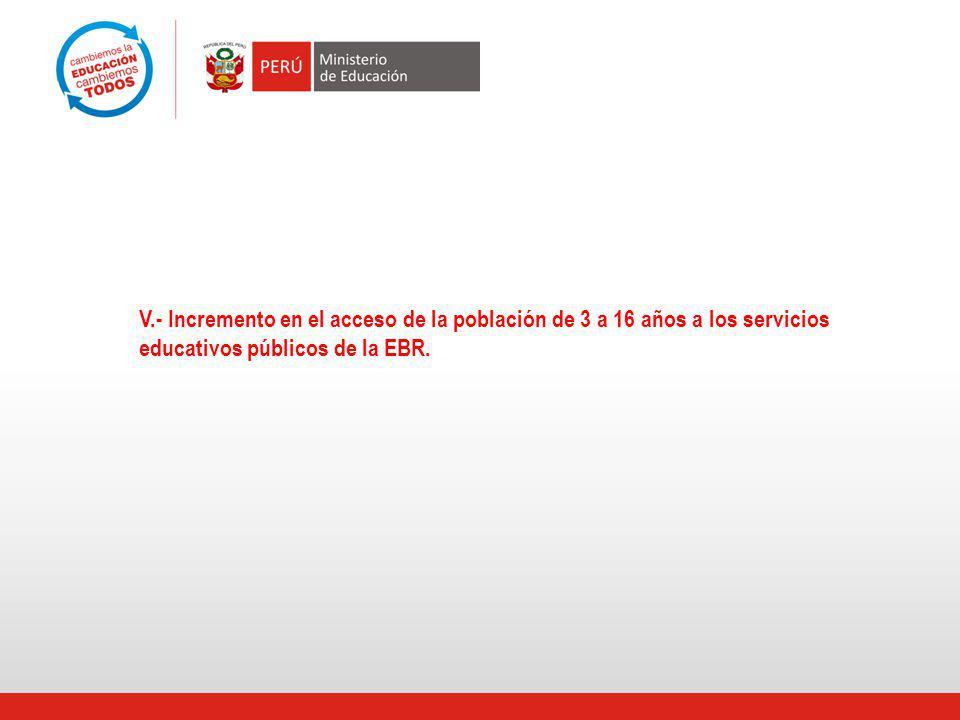 V.- Incremento en el acceso de la población de 3 a 16 años a los servicios educativos públicos de la EBR.