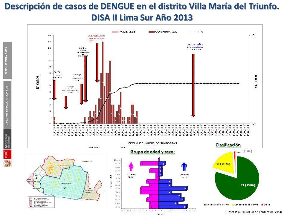 DIRECCION DE SALUD II LIMA SUR OFICINA DE EPIDEMIOLOGIA *Hasta la SE 06 (Al 08 de Febrero del 2014) Descripción de casos de DENGUE en el distrito Vill