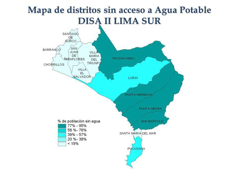 Mapa de distritos sin acceso a Agua Potable DISA II LIMA SUR