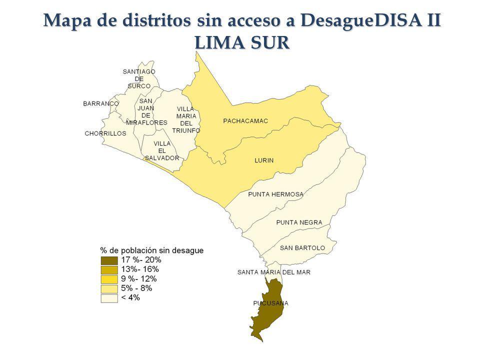 Mapa de distritos sin acceso a DesagueDISA II LIMA SUR