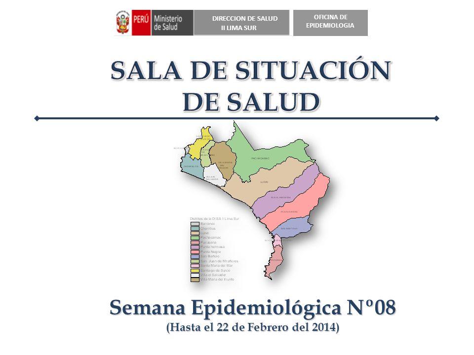DIRECCION DE SALUD II LIMA SUR OFICINA DE EPIDEMIOLOGIA *Hasta la SE 08 (Al 22 de Febrero del 2014) CASOS ACUMULADOS DE NEUMONIA EN MENORES DE 5 AÑOS SEGÚN DISTRITO, DISA II Lima Sur, 2012 -2014 a la SE 08
