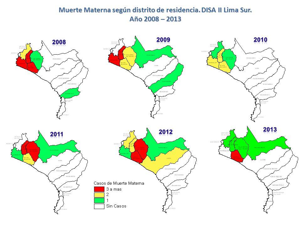 Muerte Materna según distrito de residencia. DISA II Lima Sur. Año 2008 – 2013