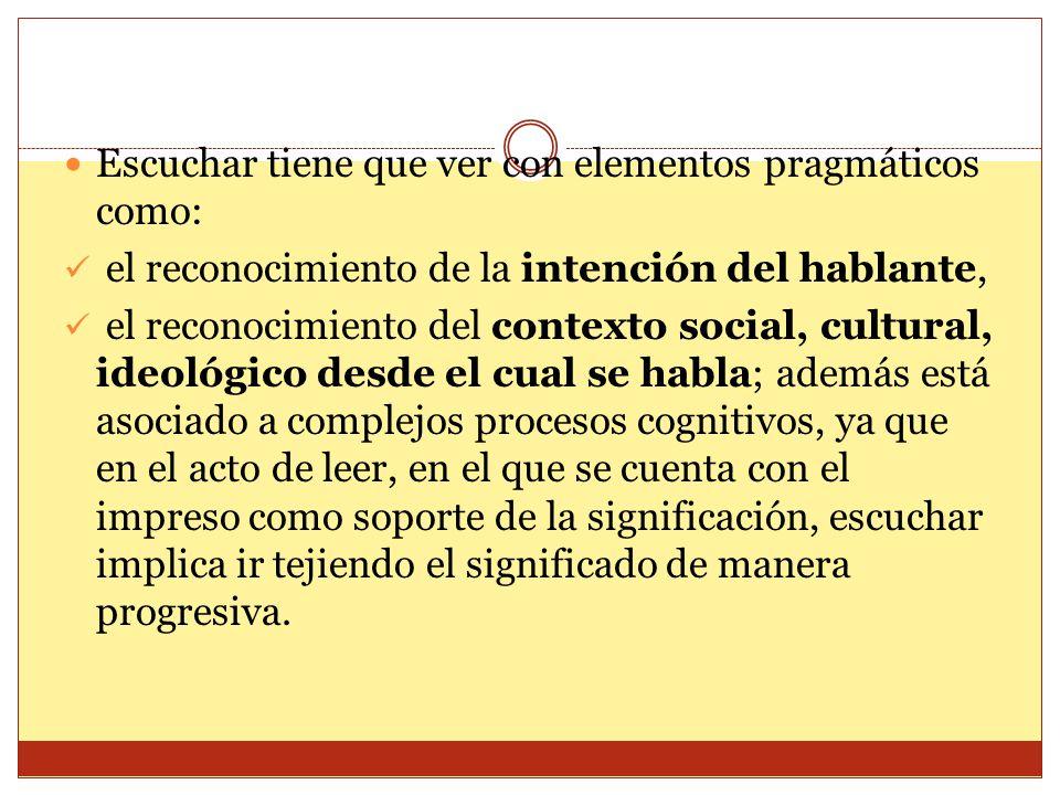 Escuchar tiene que ver con elementos pragmáticos como: el reconocimiento de la intención del hablante, el reconocimiento del contexto social, cultural