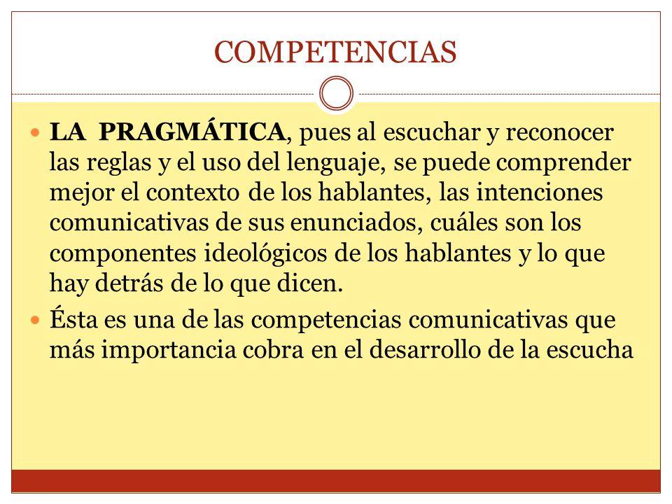 COMPETENCIAS LA PRAGMÁTICA, pues al escuchar y reconocer las reglas y el uso del lenguaje, se puede comprender mejor el contexto de los hablantes, las