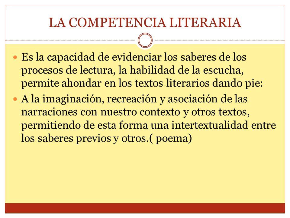 LA COMPETENCIA LITERARIA Es la capacidad de evidenciar los saberes de los procesos de lectura, la habilidad de la escucha, permite ahondar en los text