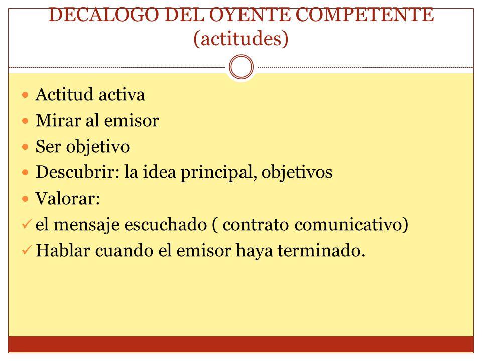DECALOGO DEL OYENTE COMPETENTE (actitudes) Actitud activa Mirar al emisor Ser objetivo Descubrir: la idea principal, objetivos Valorar: el mensaje esc