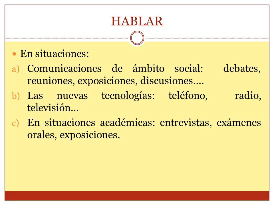 HABLAR En situaciones: a) Comunicaciones de ámbito social: debates, reuniones, exposiciones, discusiones…. b) Las nuevas tecnologías: teléfono, radio,