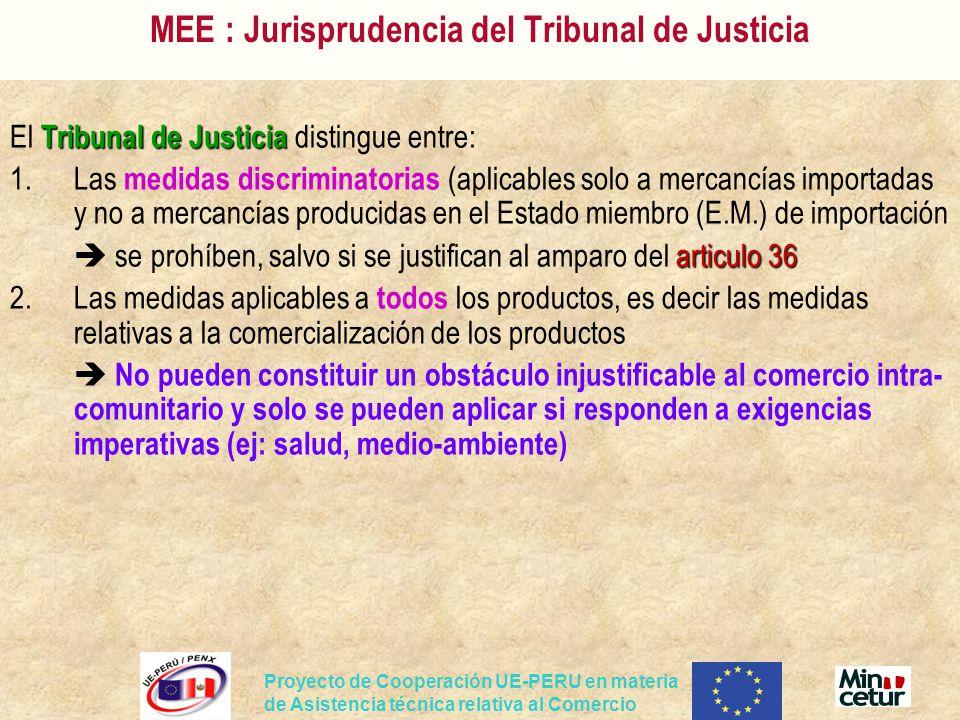 Proyecto de Cooperación UE-PERU en materia de Asistencia técnica relativa al Comercio MEE : Jurisprudencia del Tribunal de Justicia Tribunal de Justic