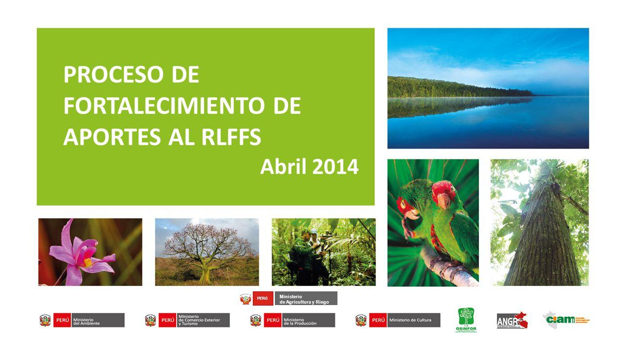 Ministerio de Agricultura y Riego PER Ú PROCESO DE FORTALECIMIENTO DE APORTES AL RLFFS Abril 2014