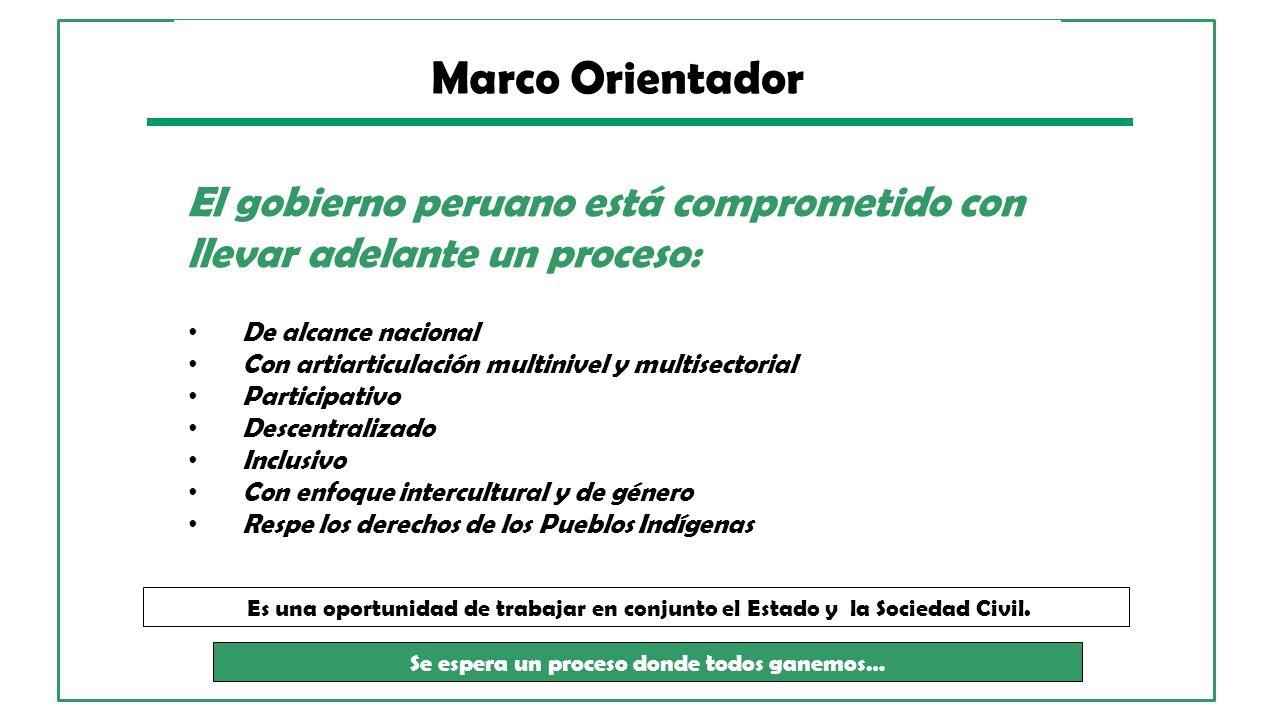 El gobierno peruano está comprometido con llevar adelante un proceso: De alcance nacional Con artiarticulación multinivel y multisectorial Participati