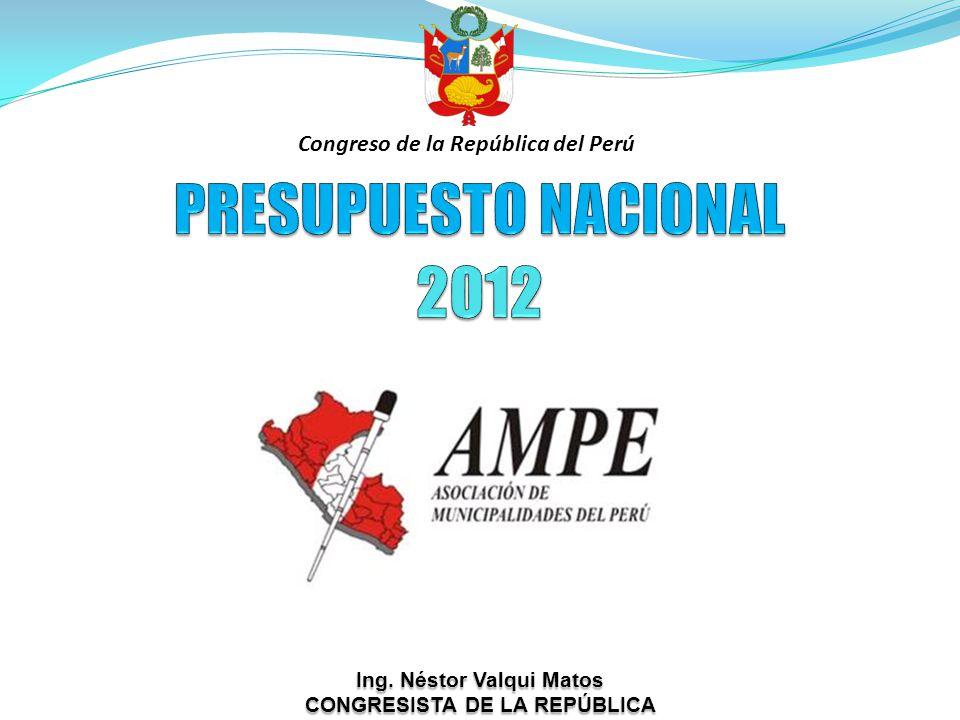 Ing. Néstor Valqui Matos CONGRESISTA DE LA REPÚBLICA Congreso de la República del Perú