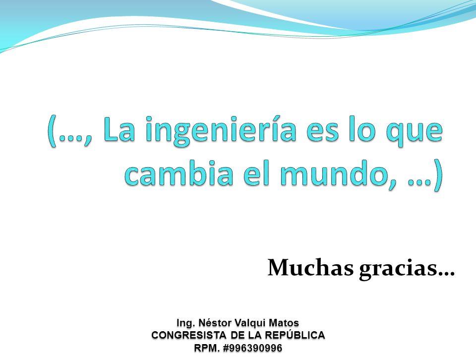 Muchas gracias… Ing. Néstor Valqui Matos CONGRESISTA DE LA REPÚBLICA RPM. #996390996