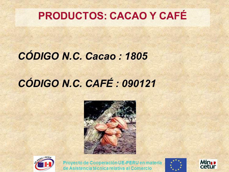 Proyecto de Cooperación UE-PERU en materia de Asistencia técnica relativa al Comercio PRODUCTOS: CACAO Y CAFÉ CÓDIGO N.C. Cacao : 1805 CÓDIGO N.C. CAF