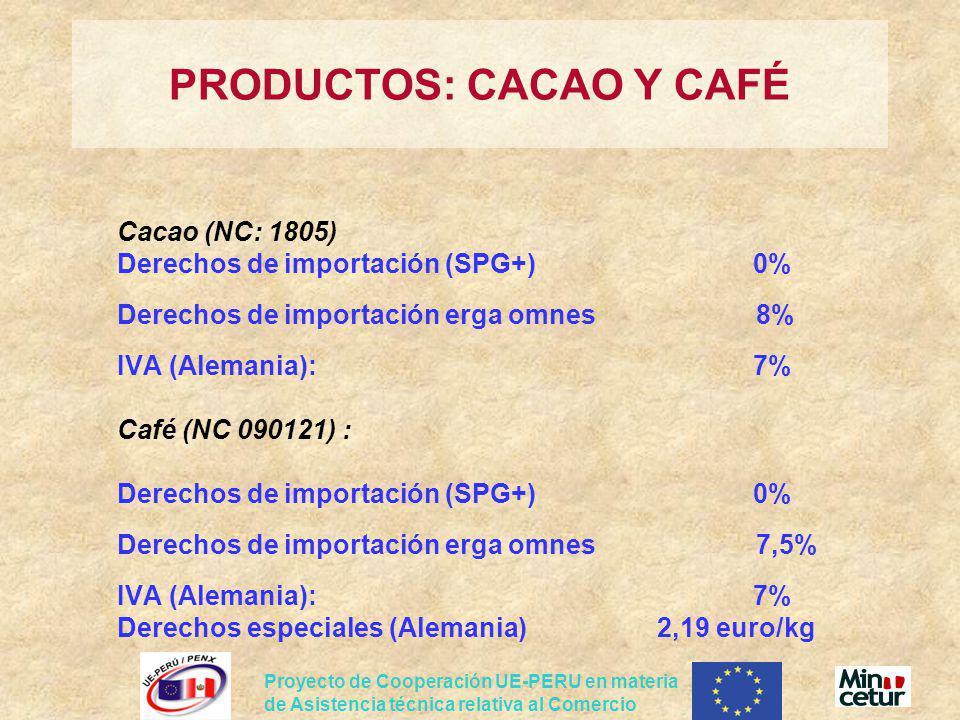 Proyecto de Cooperación UE-PERU en materia de Asistencia técnica relativa al Comercio Cacao (NC: 1805) Derechos de importación (SPG+)0% Derechos de im