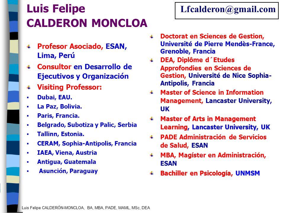 Luis Felipe CALDERÓN-MONCLOA, BA, MBA, PADE, MAML, MSc, DEA Profesor Asociado, ESAN, Lima, Perú Consultor en Desarrollo de Ejecutivos y Organización V
