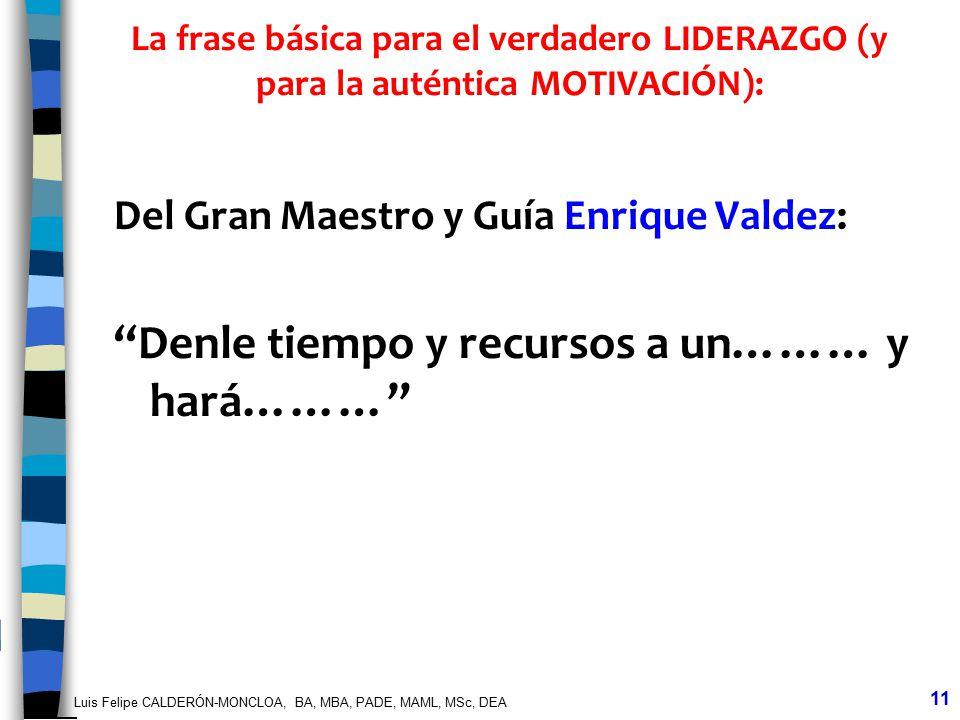 Luis Felipe CALDERÓN-MONCLOA, BA, MBA, PADE, MAML, MSc, DEA 11 La frase básica para el verdadero LIDERAZGO (y para la auténtica MOTIVACIÓN): Del Gran